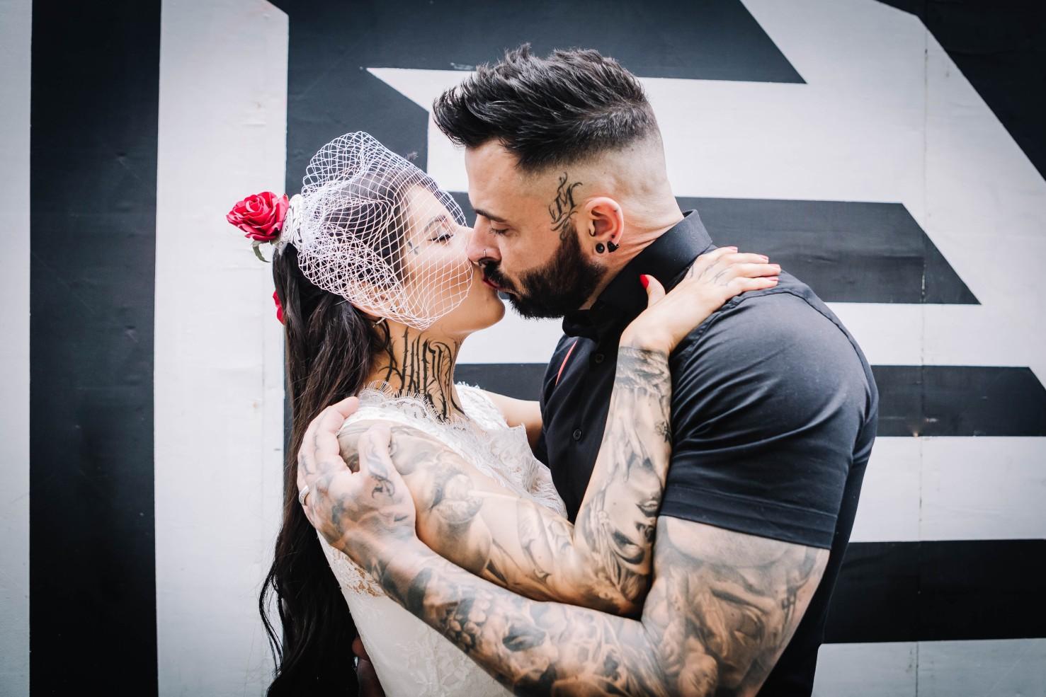 urban rockabilly wedding - east london wedding- urban wedding- rockabilly wedding- edgy wedding - retro wedding - alternative wedding- unconventional wedding- tattooed wedding- birdcage veil - tattooed couple