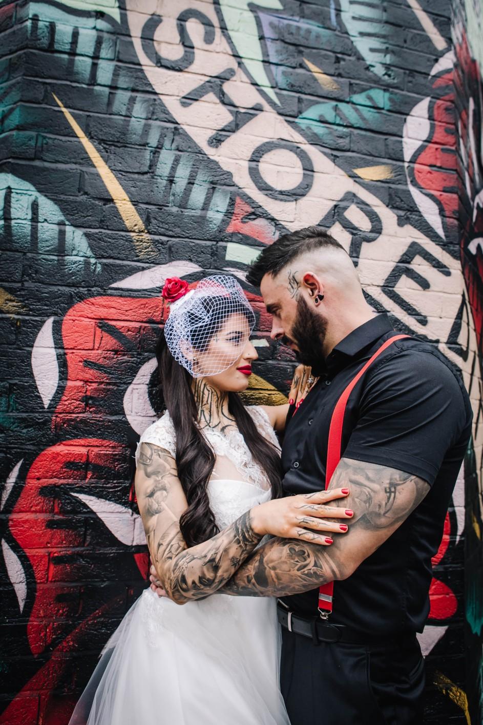 Urban Rockabilly Wedding - Urban Wedding - Magpie-Eye Photography- Unconventional Wedding- tattooed wedding- birdcage veil - alternative wedding wear