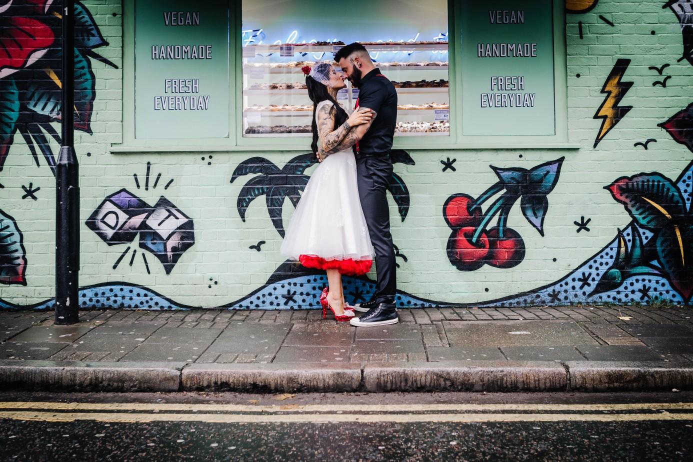 Urban Rockabilly Wedding - Urban Wedding - Magpie-Eye Photography- Unconventional Wedding- urban wedding photos- red underskirt- alternative birdalwear