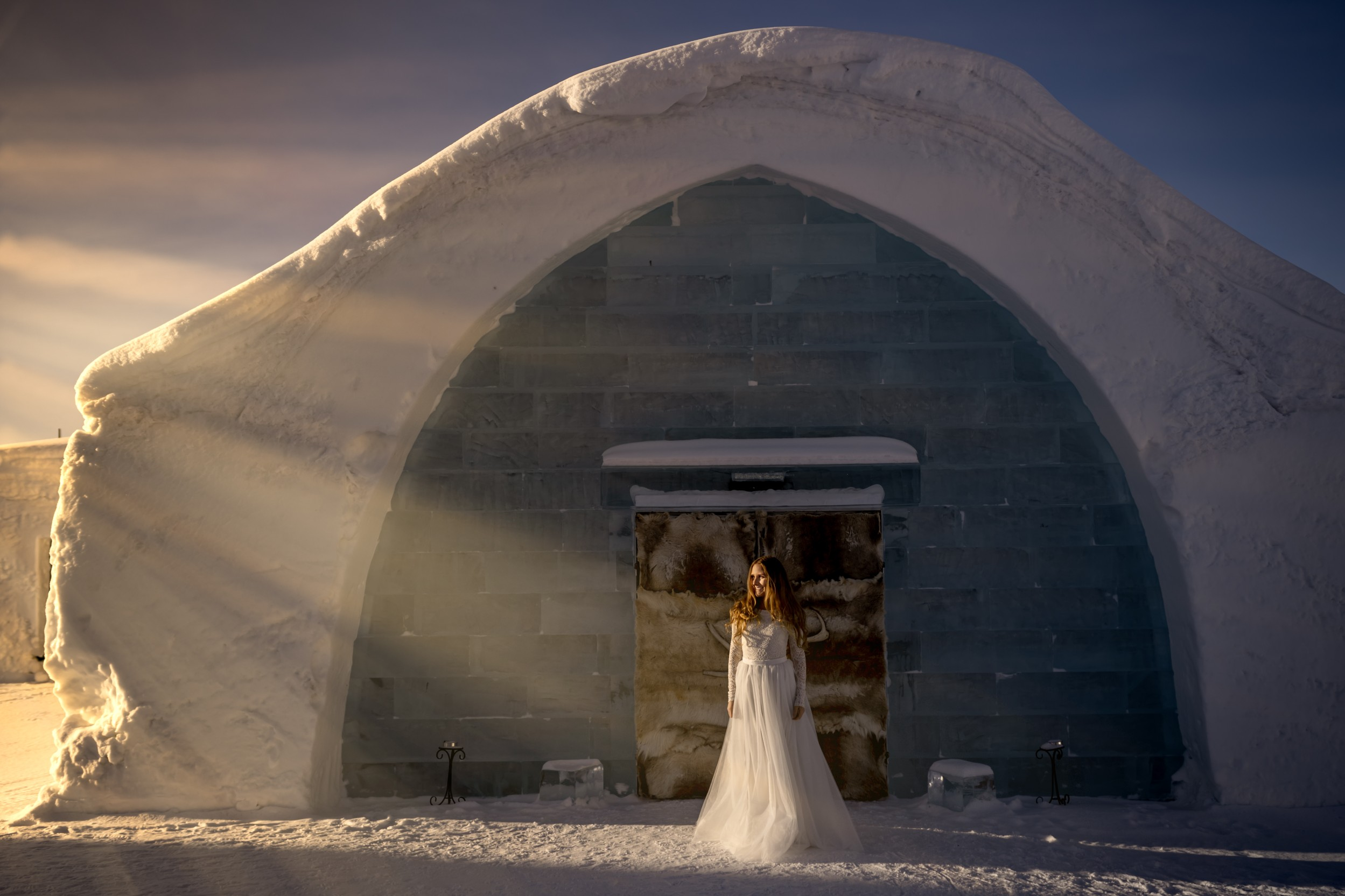 winter wedding at icehotel sweden - cinematic wedding photography - ice wedding - elopement in sweden - creative wedding photographer - unconventional wedding - alternative wedding - unique wedding - artistic wedding - sweden wedding- winter bride