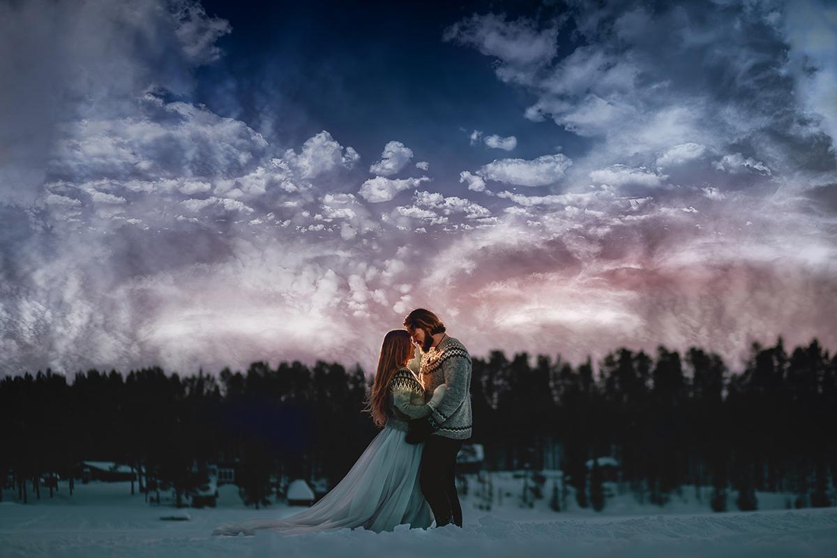 winter wedding at icehotel sweden - cinematic wedding photography - ice wedding - elopement in sweden - creative wedding photographer - unconventional wedding - alternative wedding - unique wedding - artistic wedding - winter forest wedding