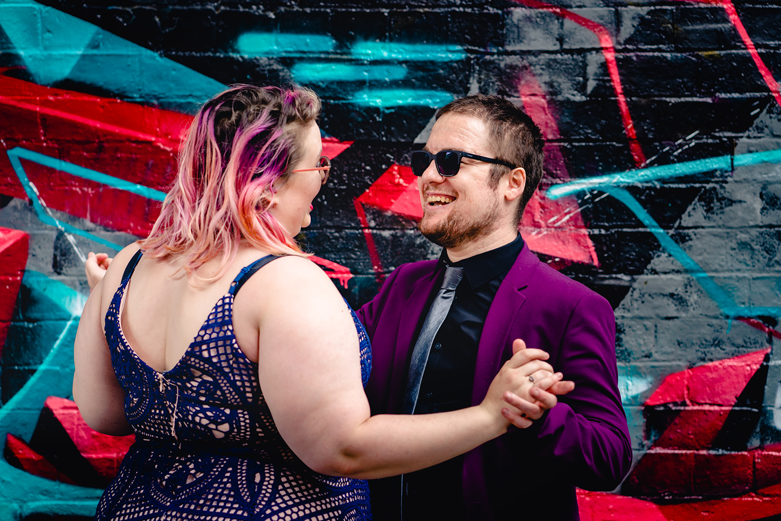 engagement shoots - birmingham engagement shoot - colourful wedding photoshoot - quirky wedding photos - fun wedding photography - alternative wedding - couple dancing