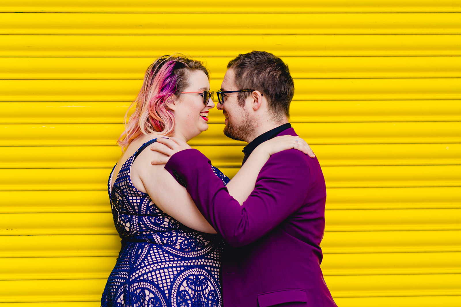 engagement shoots - birmingham engagement shoot - colourful wedding photoshoot - quirky wedding photos - fun wedding photography - alternative wedding - purple and yellow wedding photo