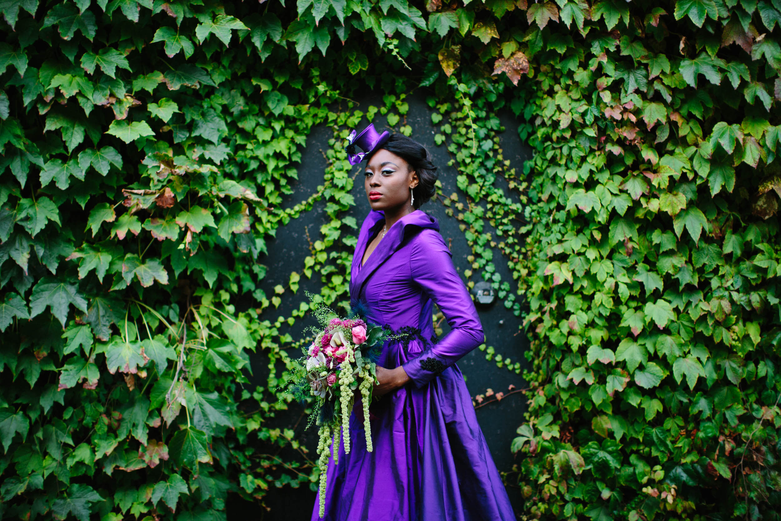 purple wedding dress - burlesque wedding - alternative bridal wear - unique wedding dress - unique wedding coat - alternative bride