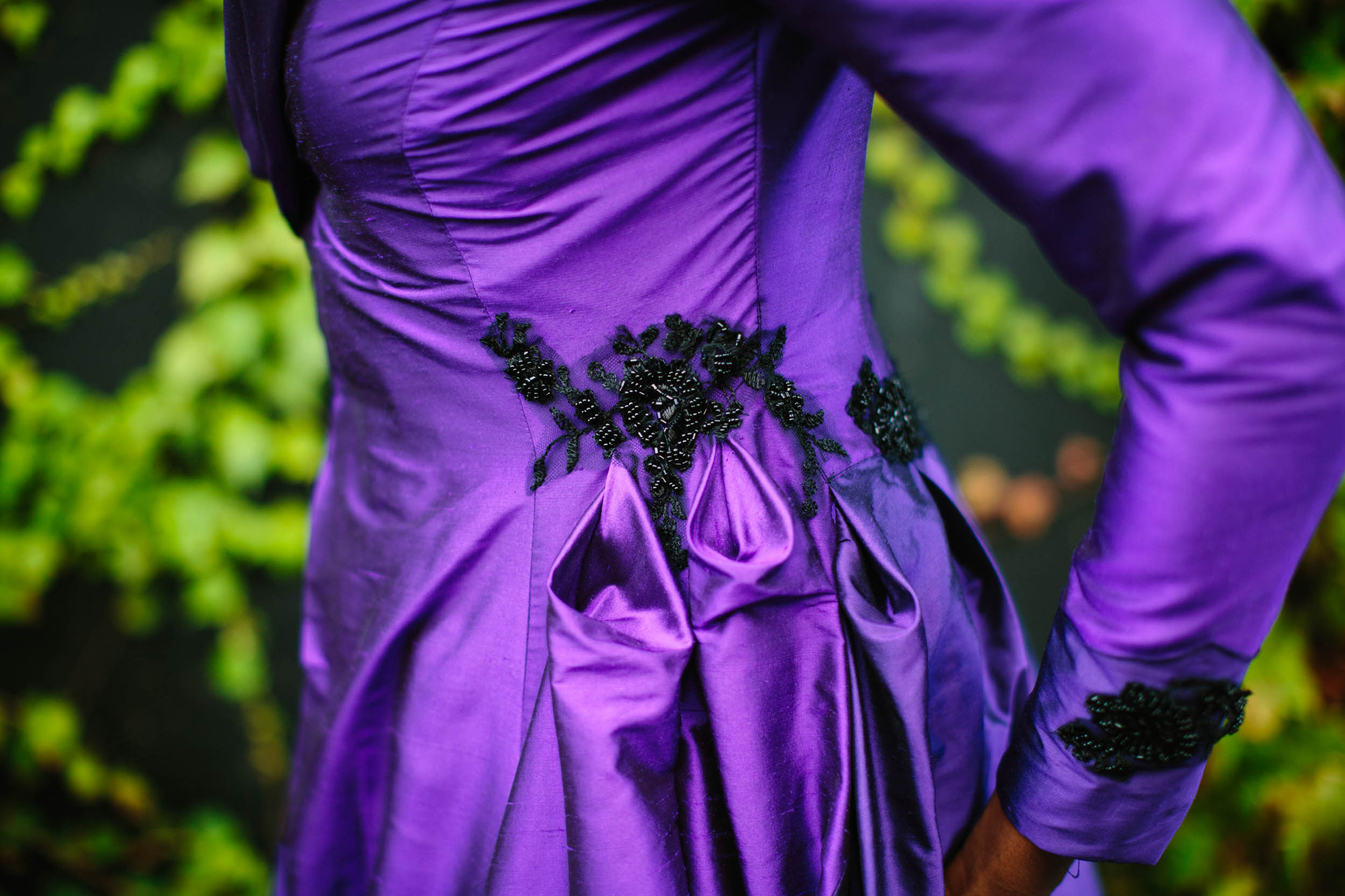 purple wedding dress - burlesque wedding - alternative bridal wear - unique wedding dress - unique wedding coat - purple wedding dress with black details