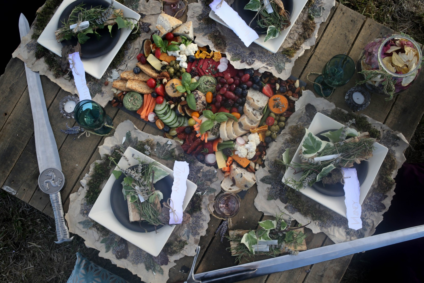 nature wedding - pagan wedding - ethereal wedding - spiritual wedding - alternative wedding - mystical wedding - quirky wedding - wedding banquet - wedding grazing table