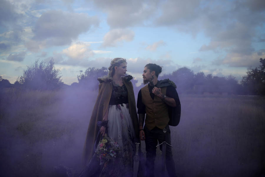 ethereal nature wedding - neopagan wedding - pagan wedding - witchy wedding - wedding smoke bomb photo