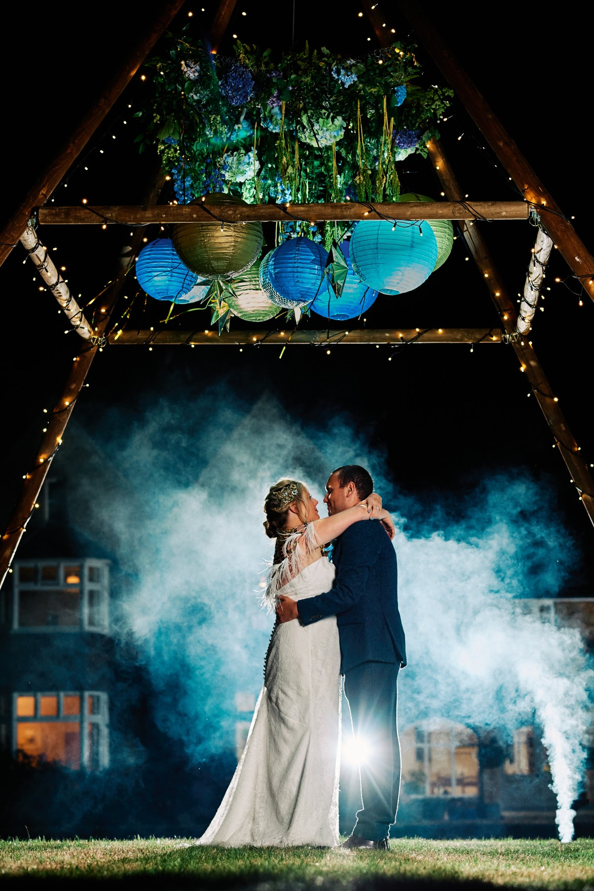nhs wedding - paramedic wedding - blue and gold wedding - outdoor wedding - micro wedding - surprise wedding - wedding smoke bomb