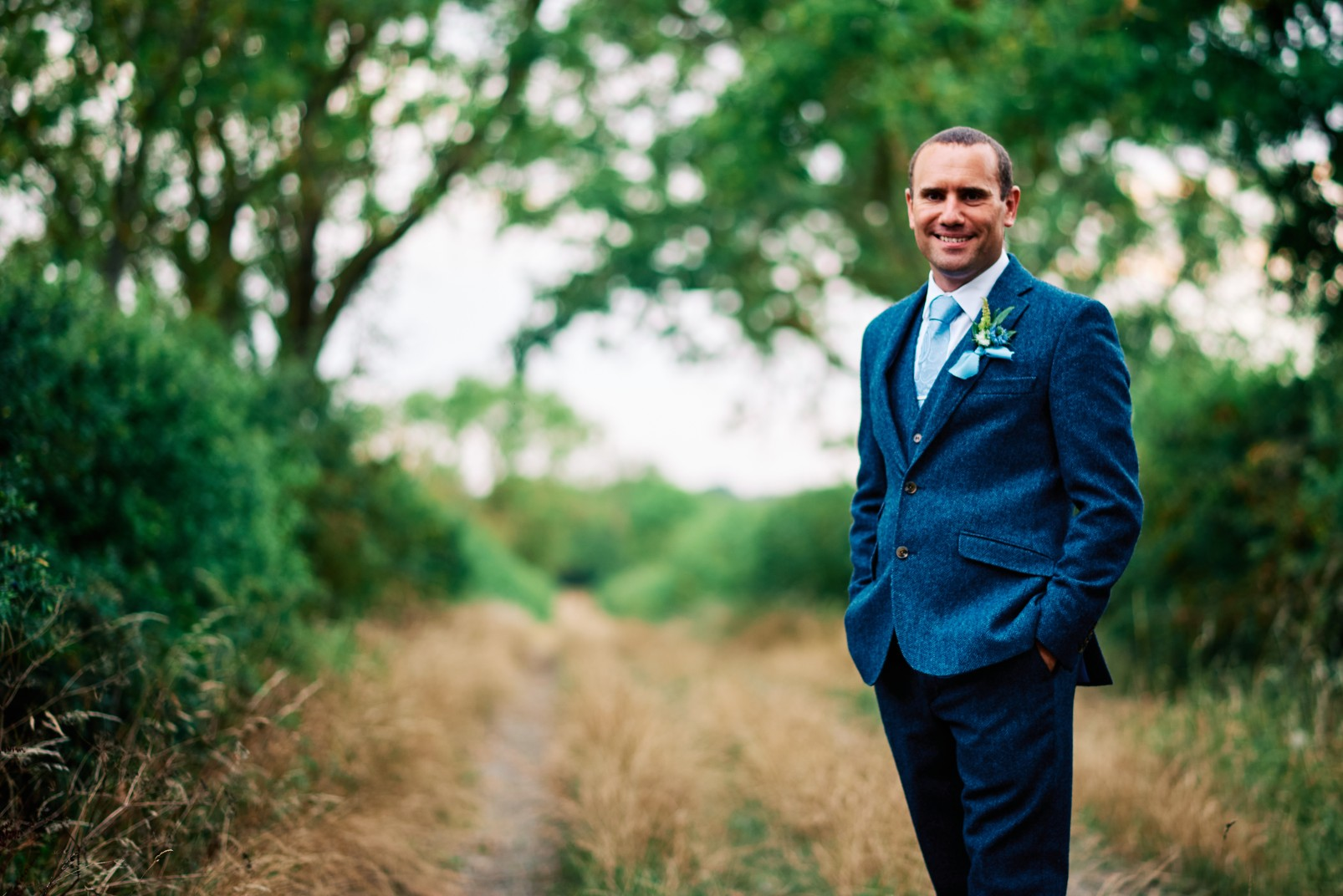 nhs wedding - paramedic wedding - blue and gold wedding - outdoor wedding - micro wedding - surprise wedding - blue grooms suit