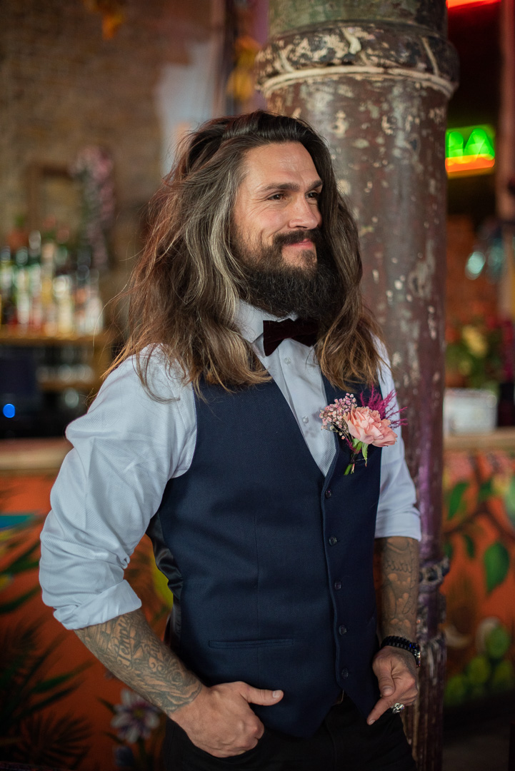 colourful urban wedding - alternative wedding - modern wedding - city wedding planning - quirky wedding inspiration- colourful wedding inspiration - edgy wedding - groom with long hair and waistcoat