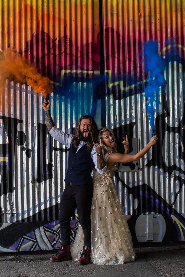 colourful urban wedding - alternative wedding - modern wedding - city wedding planning - quirky wedding inspiration- colourful wedding inspiration - edgy wedding - colourful wedding smokebomb