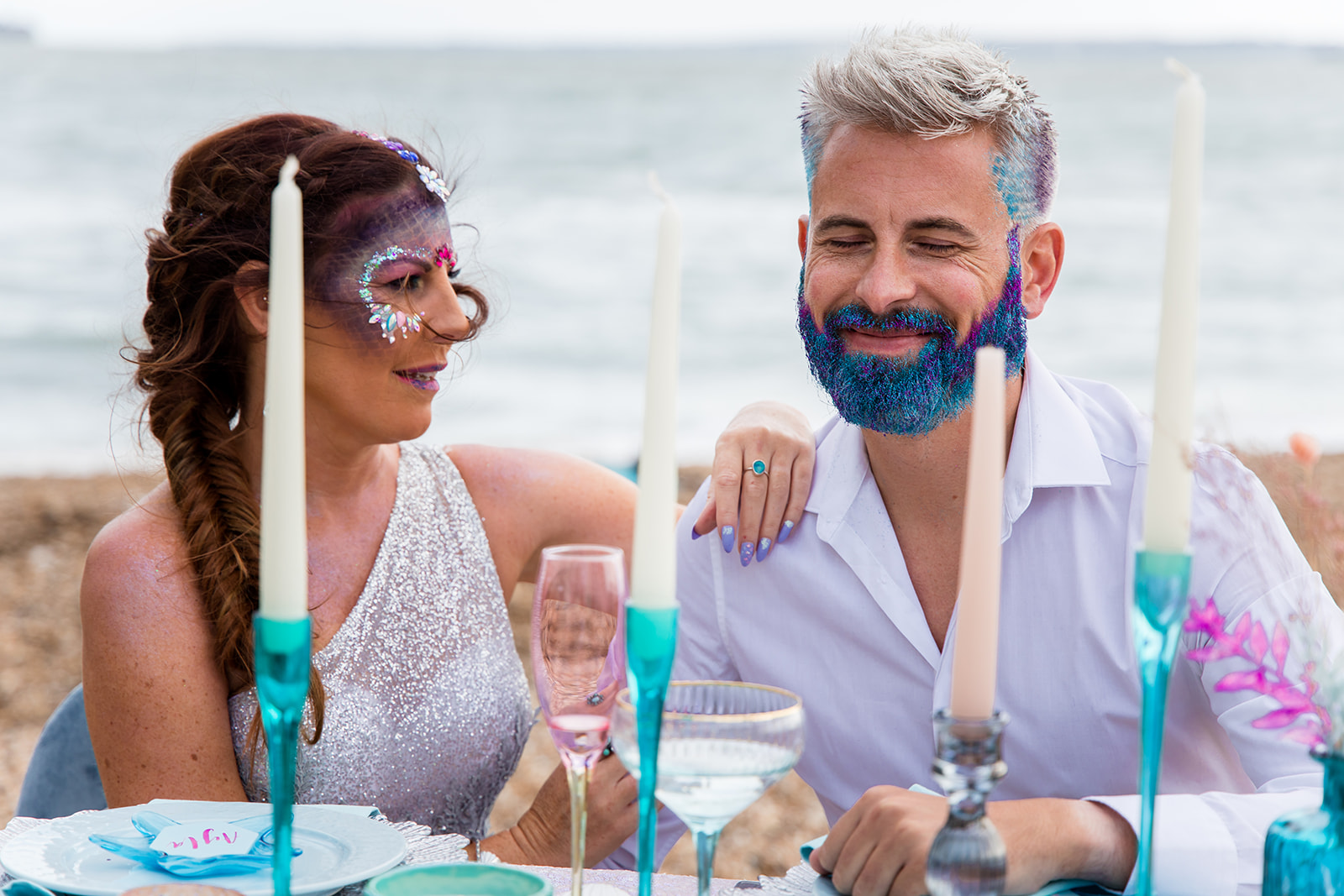 mermaid wedding - beach wedding - quirky wedding - unique wedding - alternative seaside wedding - alternative wedding - groom with beard glitter