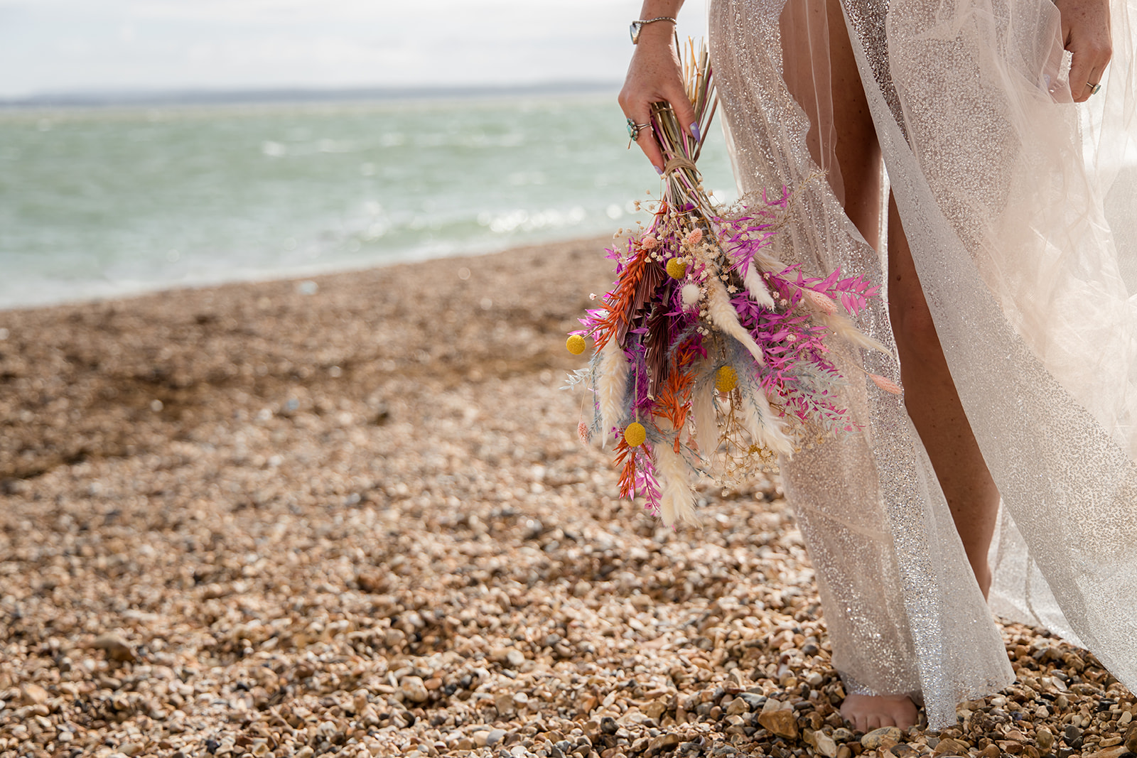 mermaid wedding - beach wedding - quirky wedding - unique wedding - alternative seaside wedding - colourful wedding flowers - dried wedding flowers