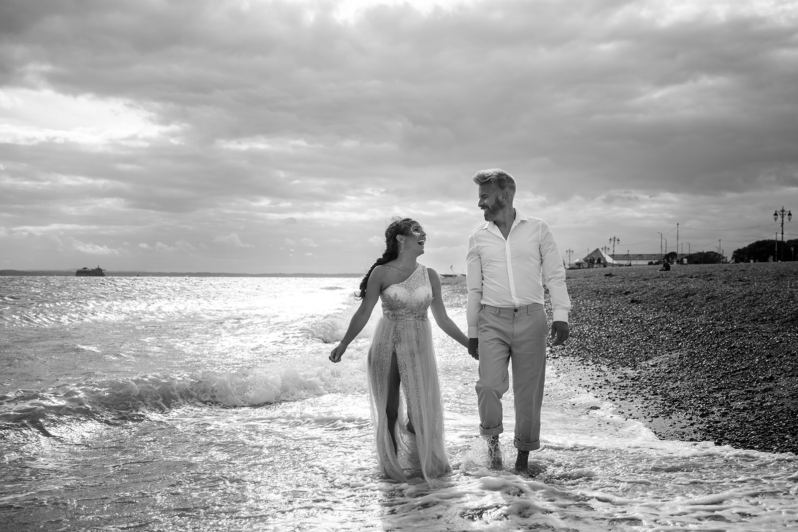 mermaid wedding - beach wedding - quirky wedding - unique wedding - alternative seaside wedding - alternative wedding - bride and groom walking on beach