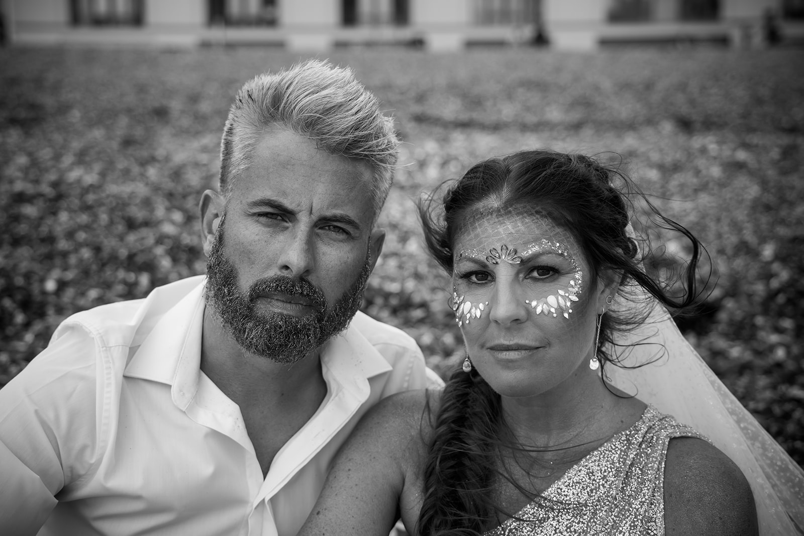 mermaid wedding - beach wedding - quirky wedding - unique wedding - alternative seaside wedding - alternative wedding - bridal facial glitter - wedding festival make up