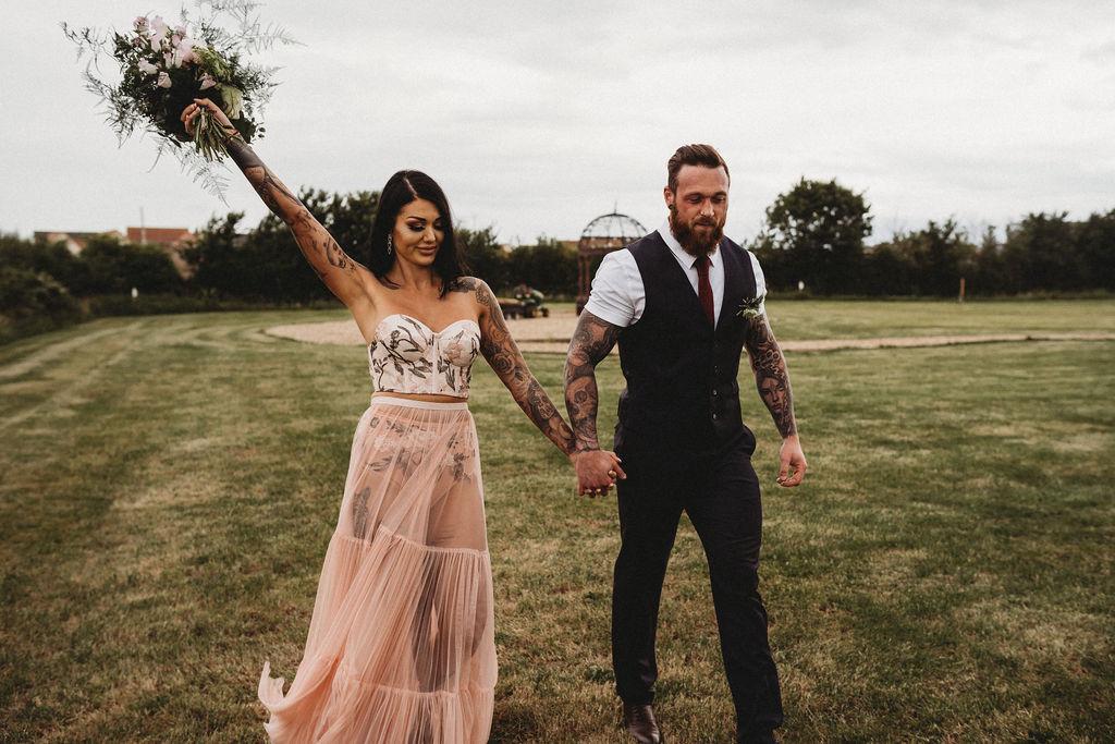 alternative bridal wear - alternative wedding dress - alternative farm wedding, edgy wedding, tattooed wedding, alternative wedding