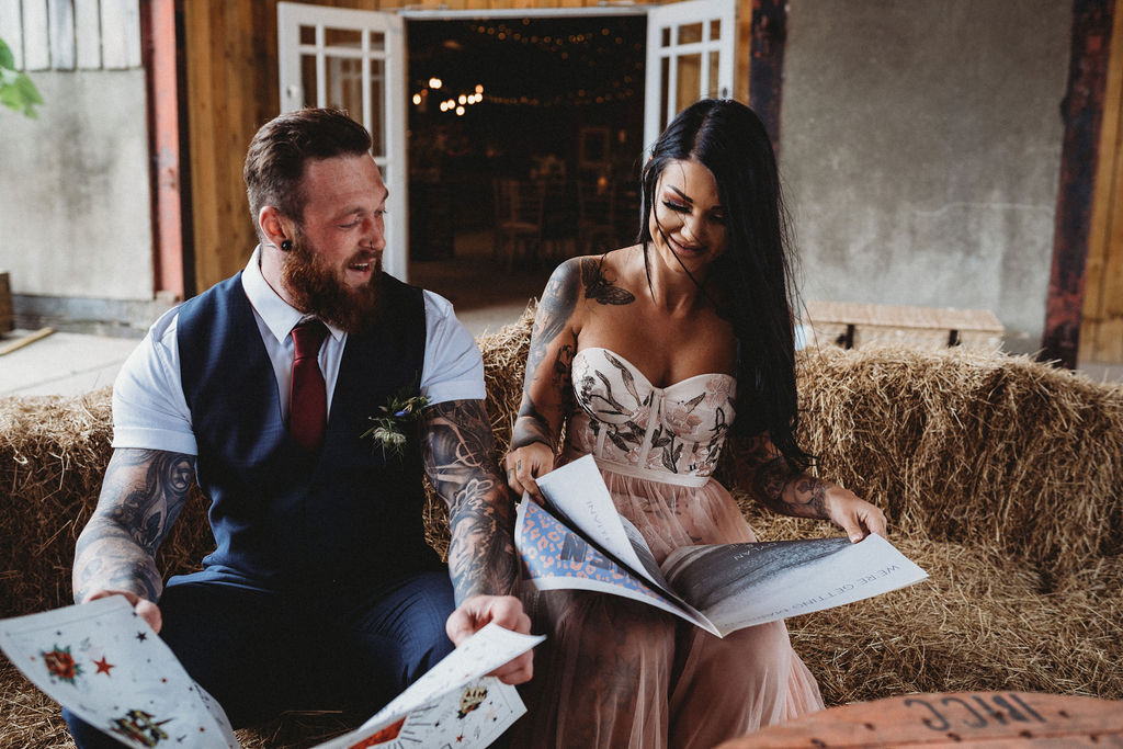 alternative farm wedding, edgy wedding, tattooed wedding, alternative wedding