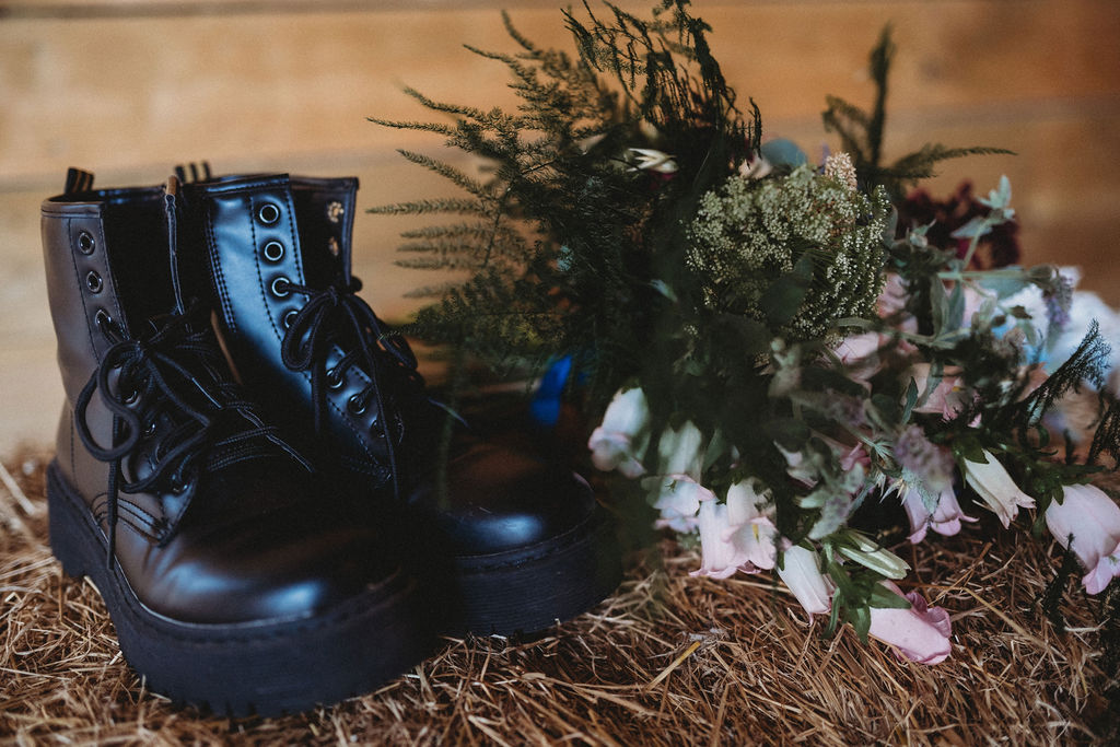 wedding dr martens - alternative farm wedding, edgy wedding, tattooed wedding, alternative wedding