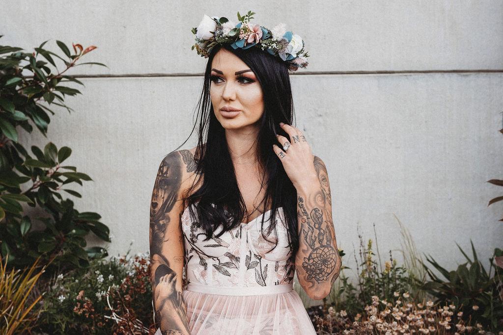 alternative bride in flower crown - alternative farm wedding, edgy wedding, tattooed wedding, alternative wedding