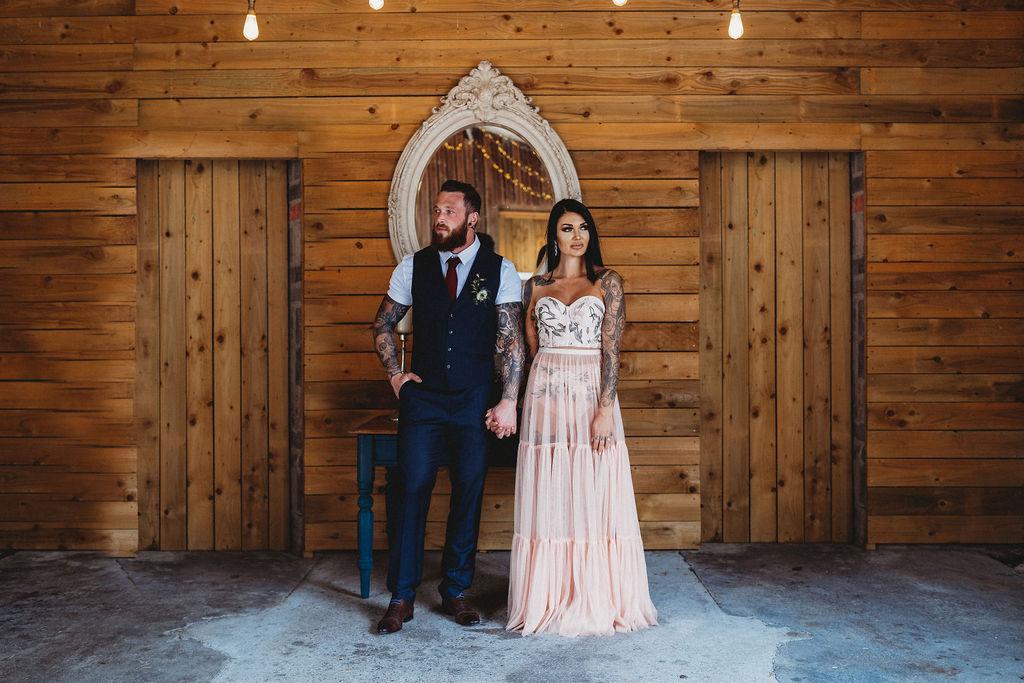 tattooed bride and groom - alternative farm wedding, edgy wedding, tattooed wedding, alternative wedding