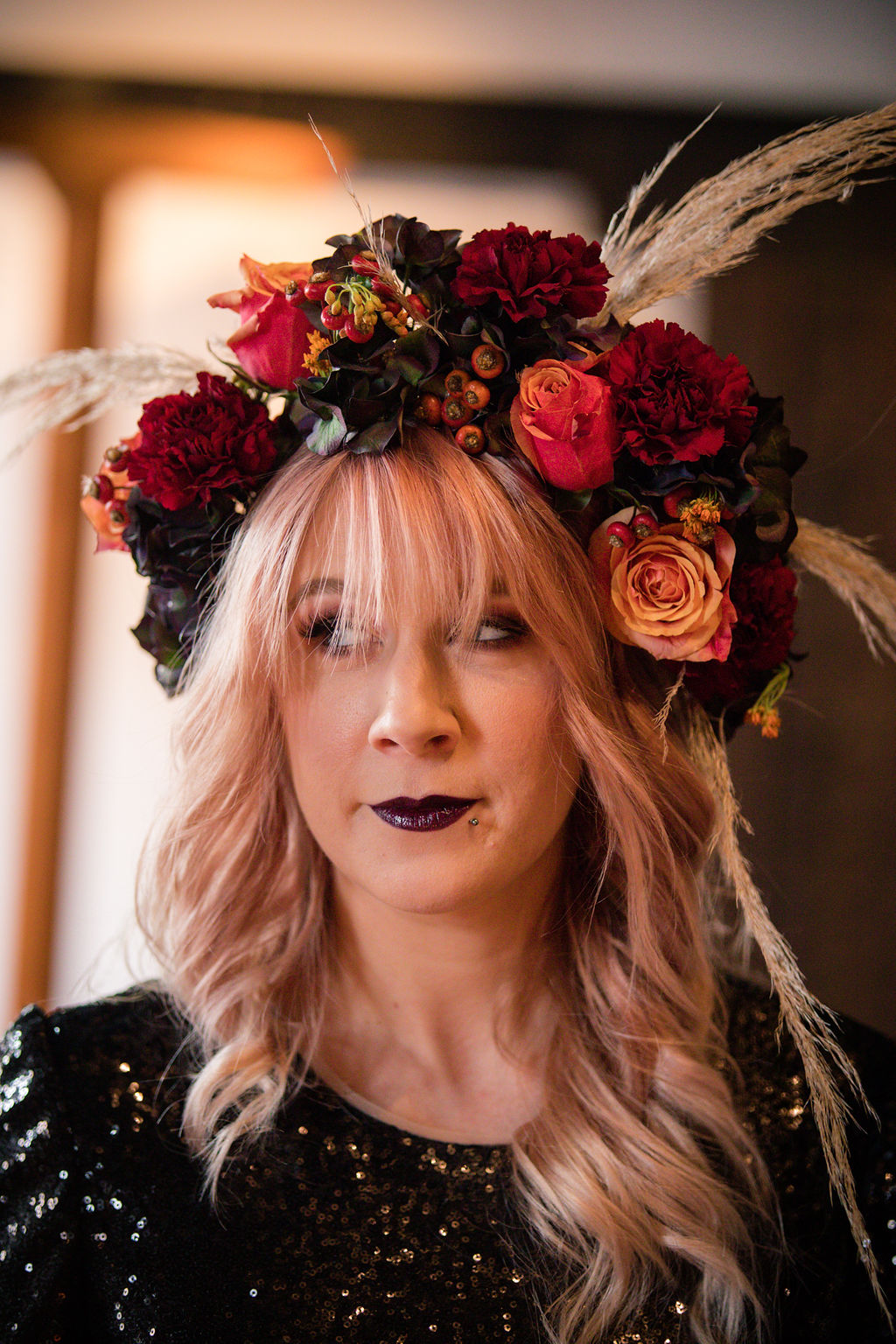 dark autumn wedding - autumn flower crown - bridal flower crown - black wedding dress - autumn bridal wear