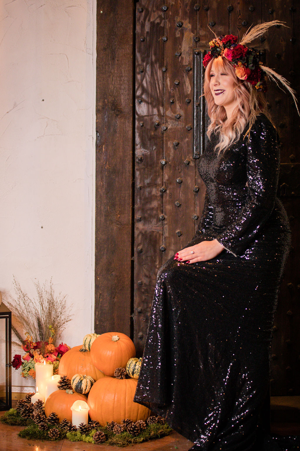 dark autumn wedding - halloween wedding - bride with pumpkins - black wedding dress - autumn bride - alternative wedding dress