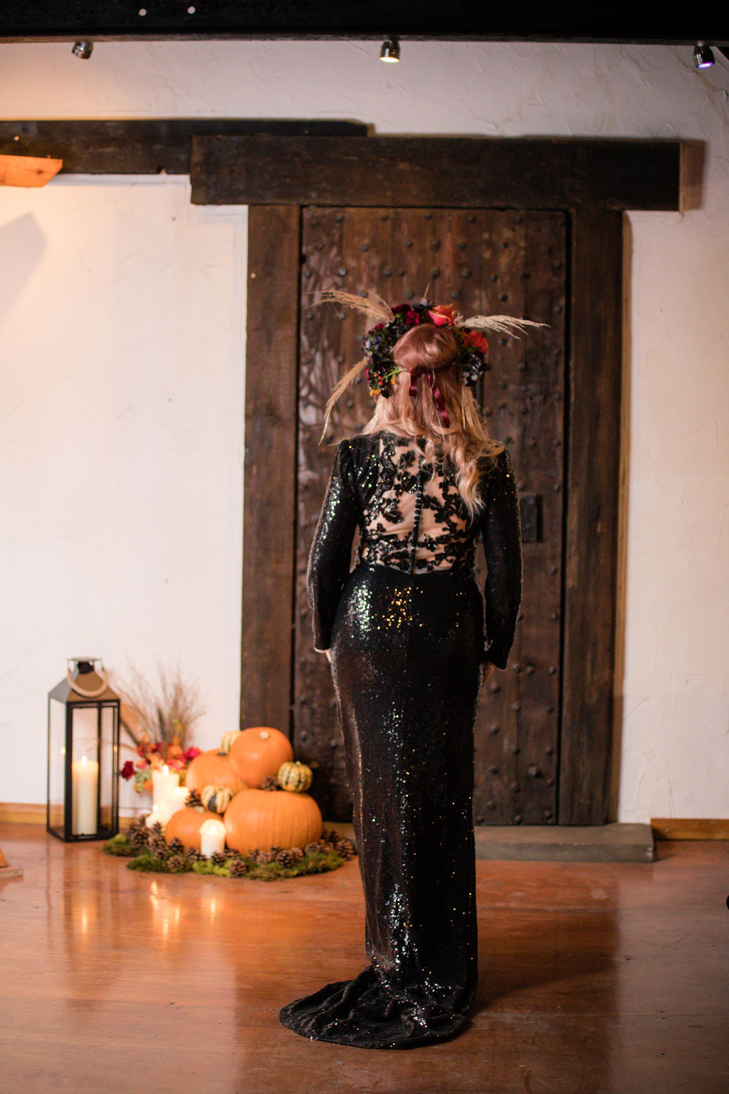 dark autumn wedding - autumn flower crown - bridal flower crown - black wedding dress - autumnal bridal wear - sequined wedding dress - gothic wedding dress
