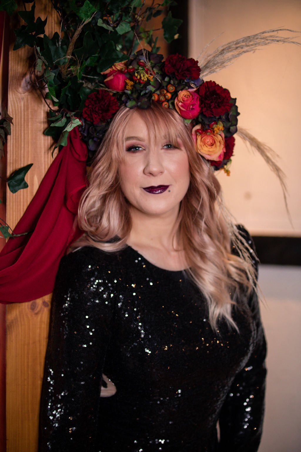 dark autumn wedding - autumn flower crown - bridal flower crown - black wedding dress
