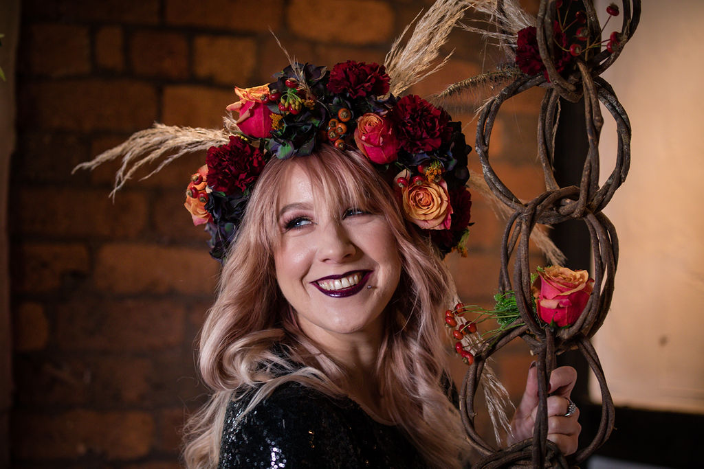 dark autumn wedding - autumn flower crown - bridal flower crown - black wedding dress - autumnal bridal wear - autumn wedding photoshoot - gothic wedding shoot