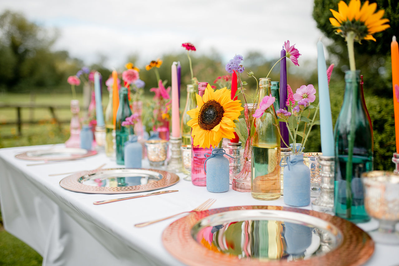 colourful wedding table - wedding sunflowers - eclectic wedding table