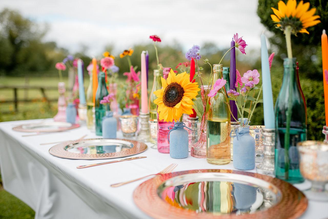 colourful wedding table - wedding sunflowers - eclectic wedding table