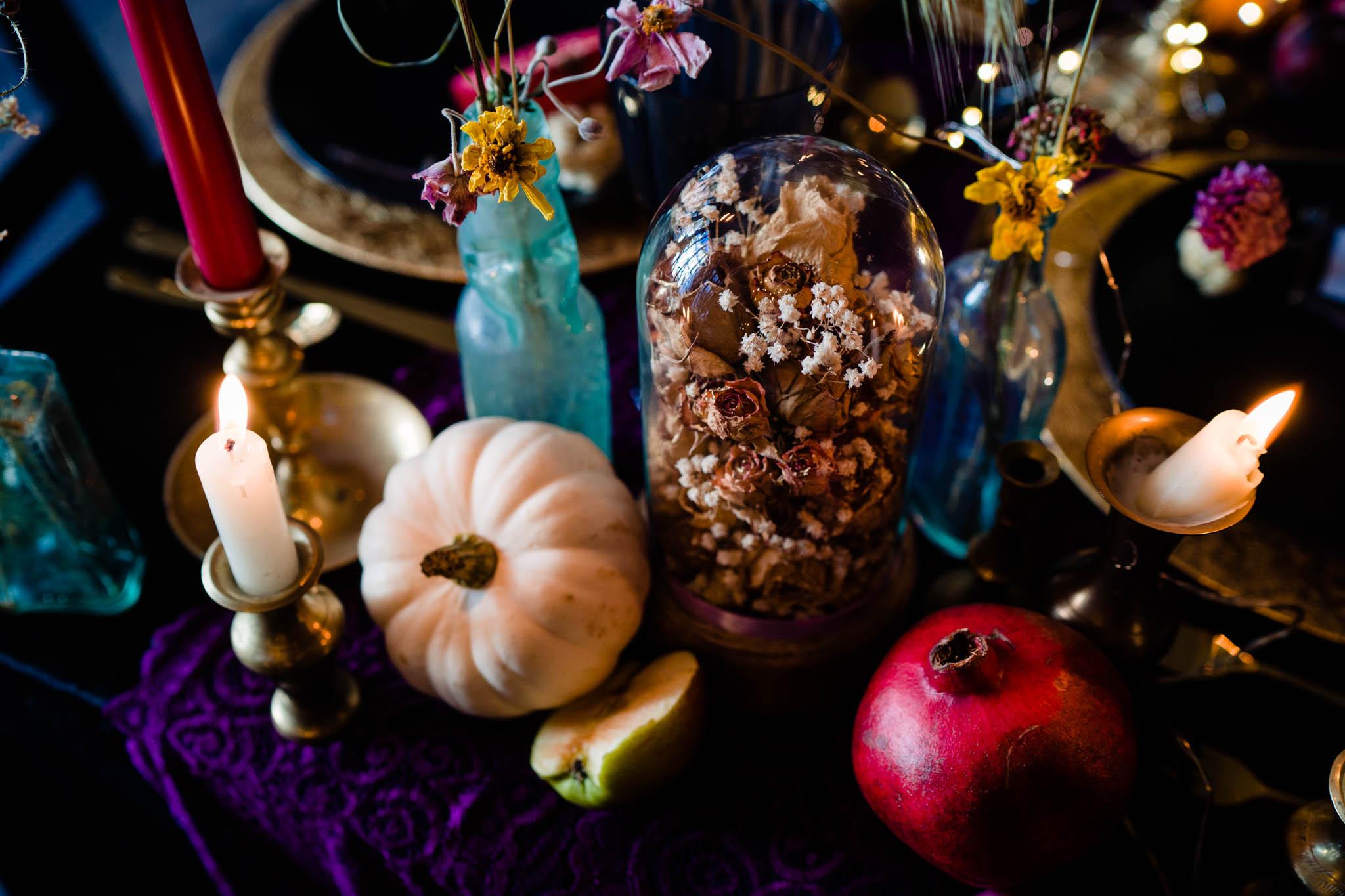 colourful autumn wedding decor - pumpkin wedding - eclectic wedding table decorations