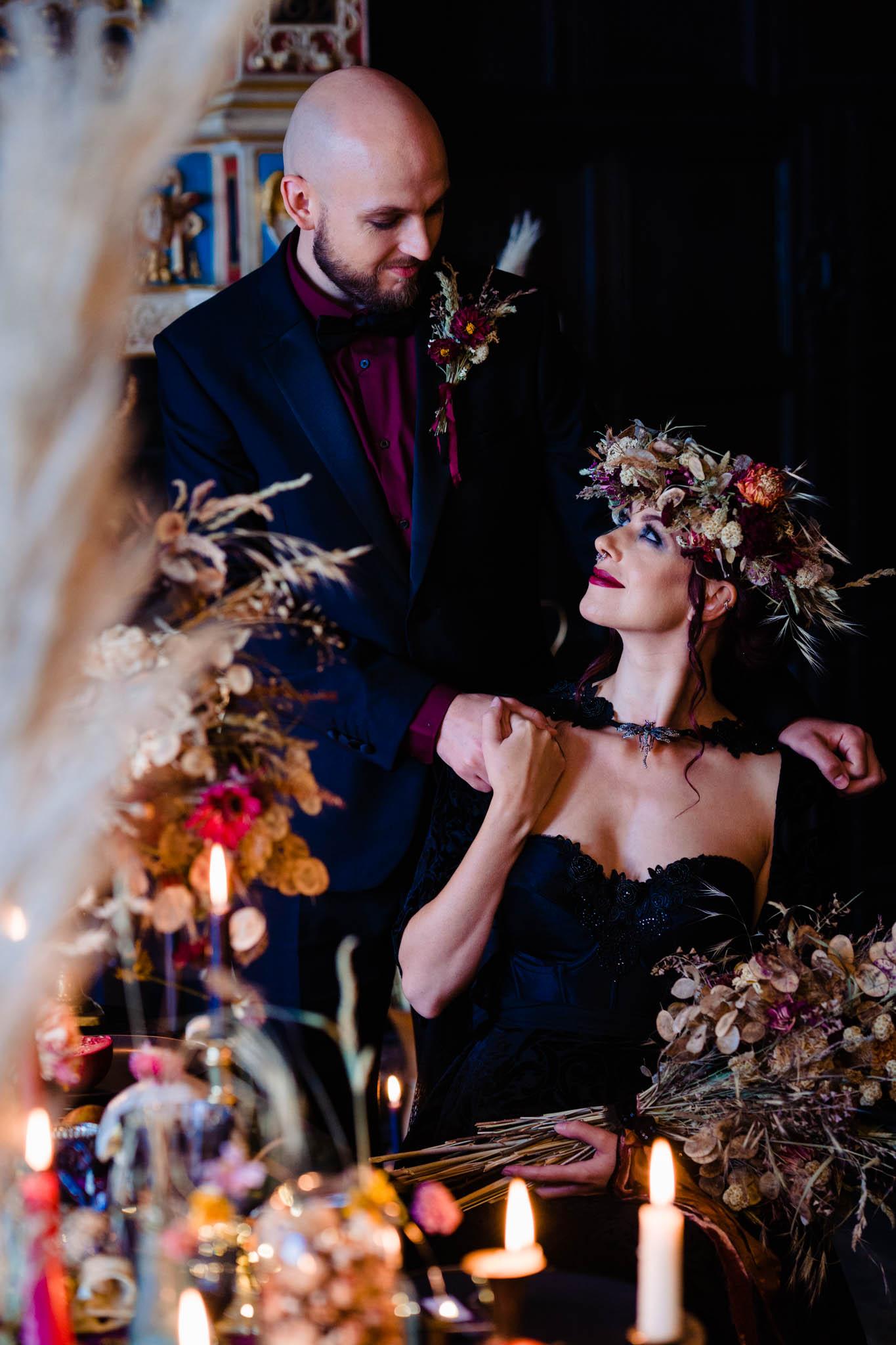 gothic autumn wedding - halloween wedding - alternative wedding - alternative wedding dress