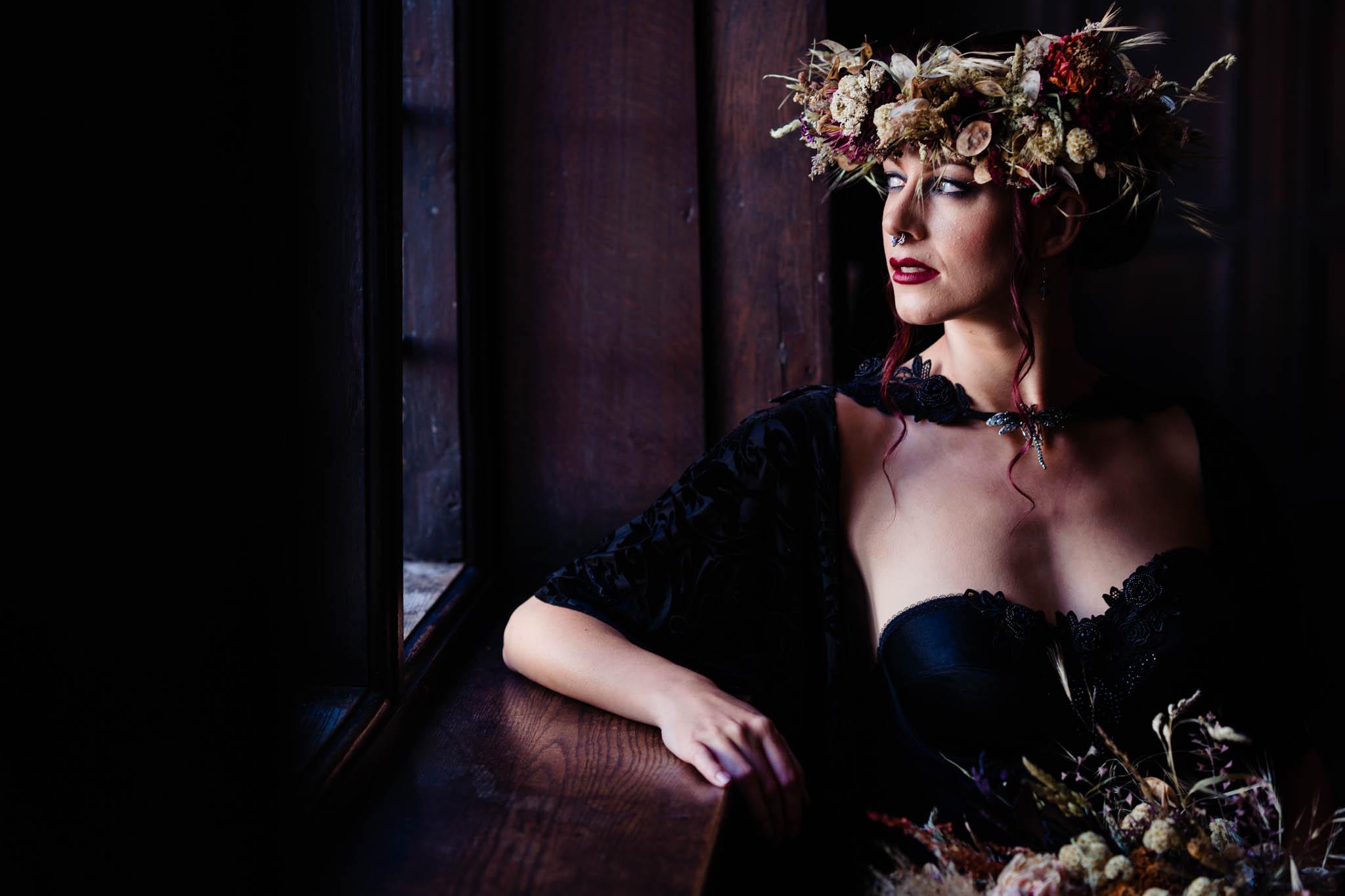 elegant gothic wedding - gothic bride - black wedding dress - autumn flower crown - autumn gothic wedding