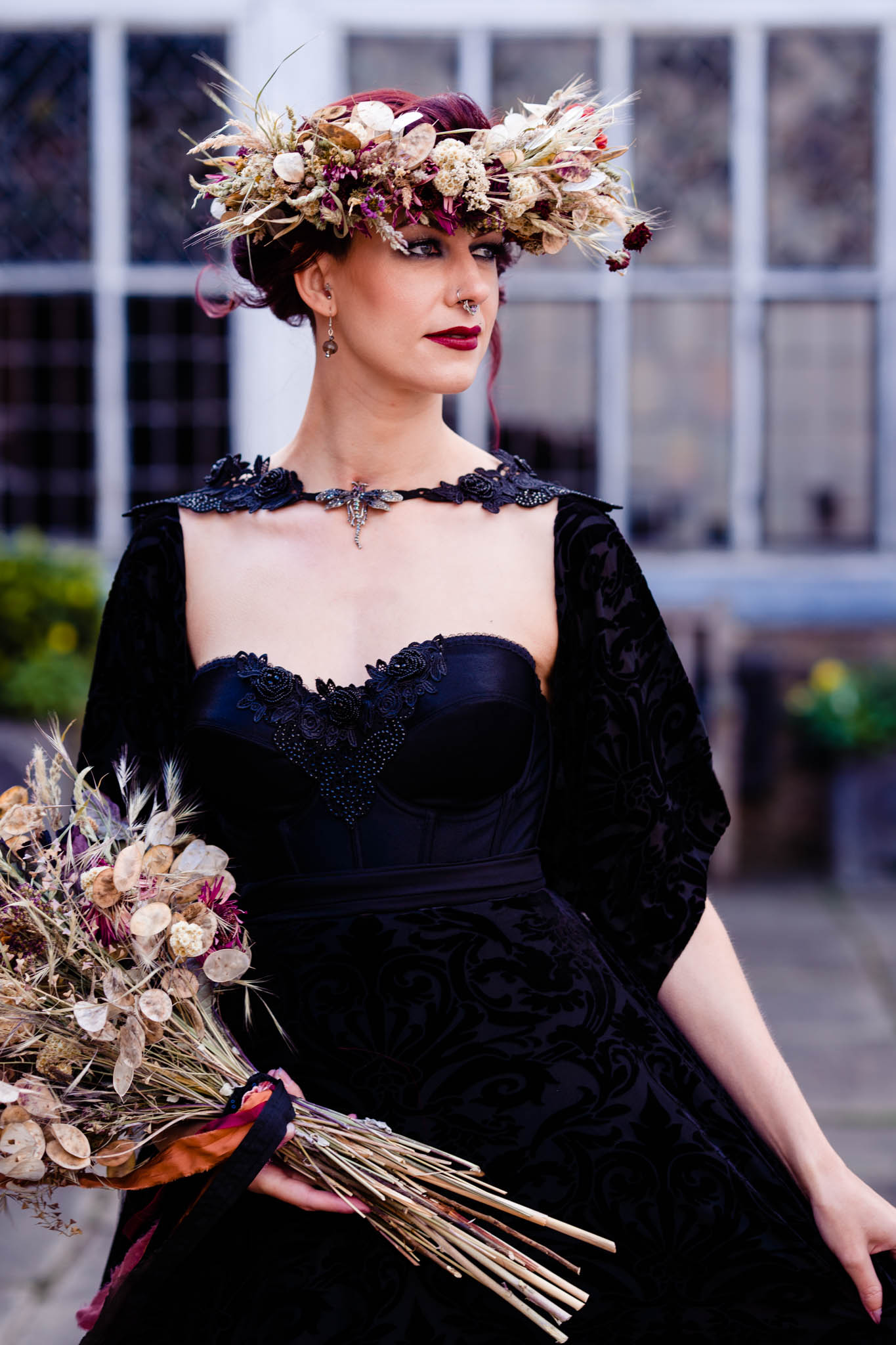 elegant gothic wedding - gothic wedding - halloween wedding - autumn wedding flowers- autumn flower crown