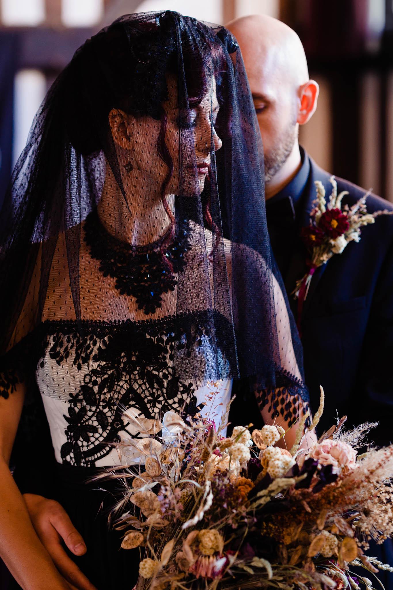 gothic bride with black veil - gothic bridal veil - black veil - black wedding dress - alternative wedding dress