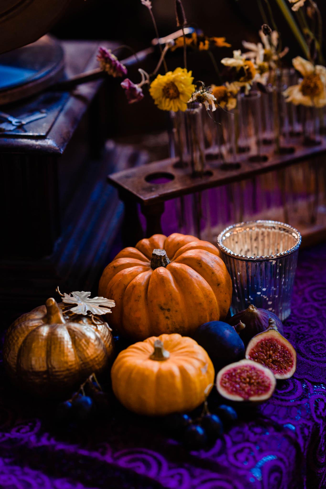 pumpkin wedding decor - halloween wedding - quirky autumn wedding