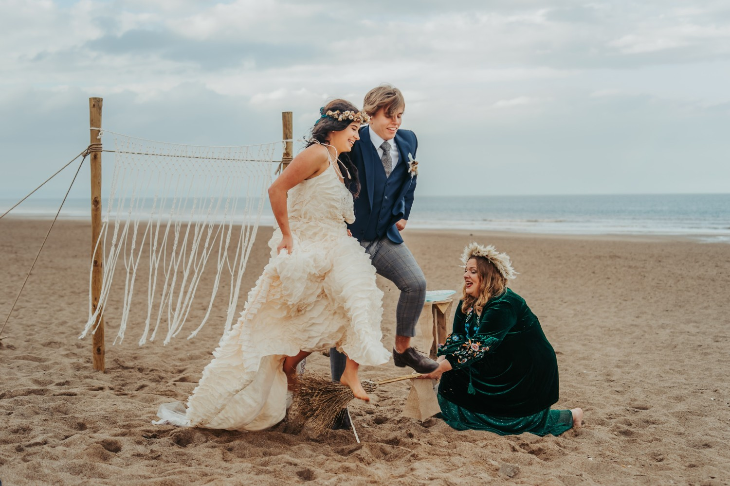 beach elopement - beach wedding - eco friendly wedding -tempest themed wedding - jumping the broom wedding ceremony