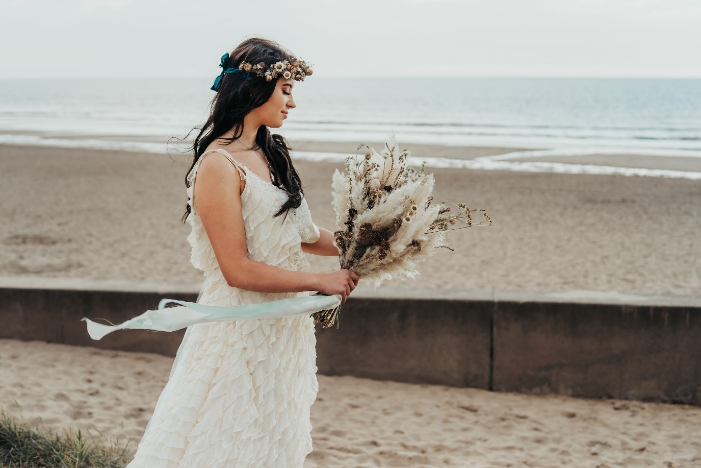 beach elopement - beach wedding - eco friendly wedding -tempest themed wedding - unique wedding bouquet - dried wedding flowers