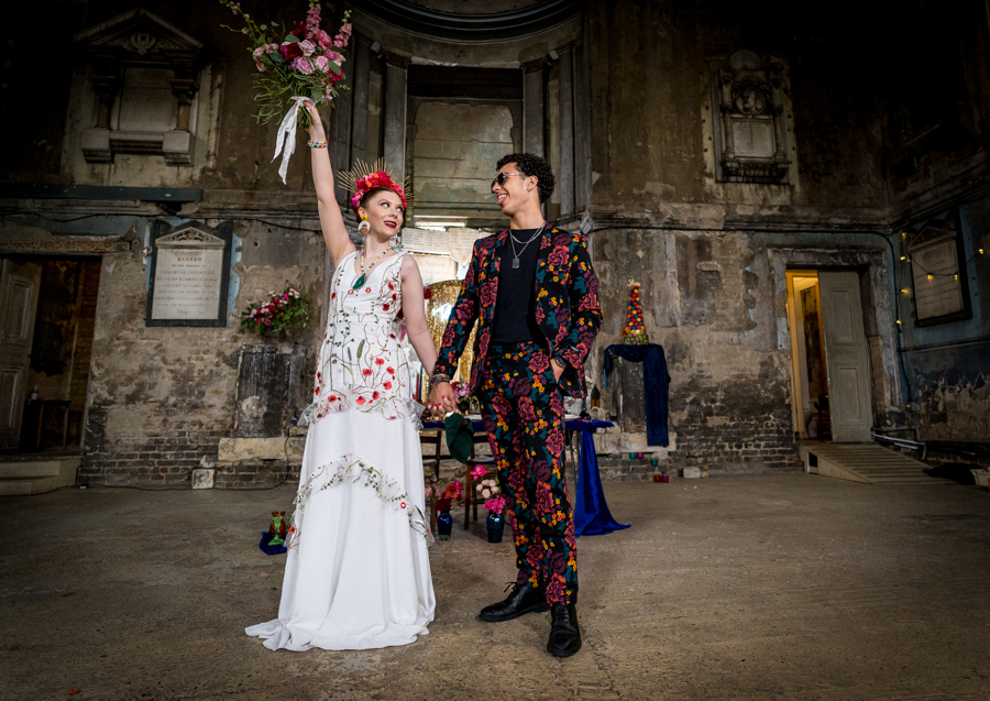 colourful alternative wedding - alternative bridal wear - embroidered wedding dress - unique grooms wear - patterned grooms suit - eclectic london wedding