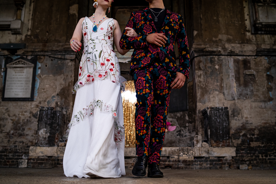 colourful alternative wedding - colourful wedding wear - embroidered wedding dress - colourful wedding dress - unique wedding dress - unique groomswear - patterned mens suit
