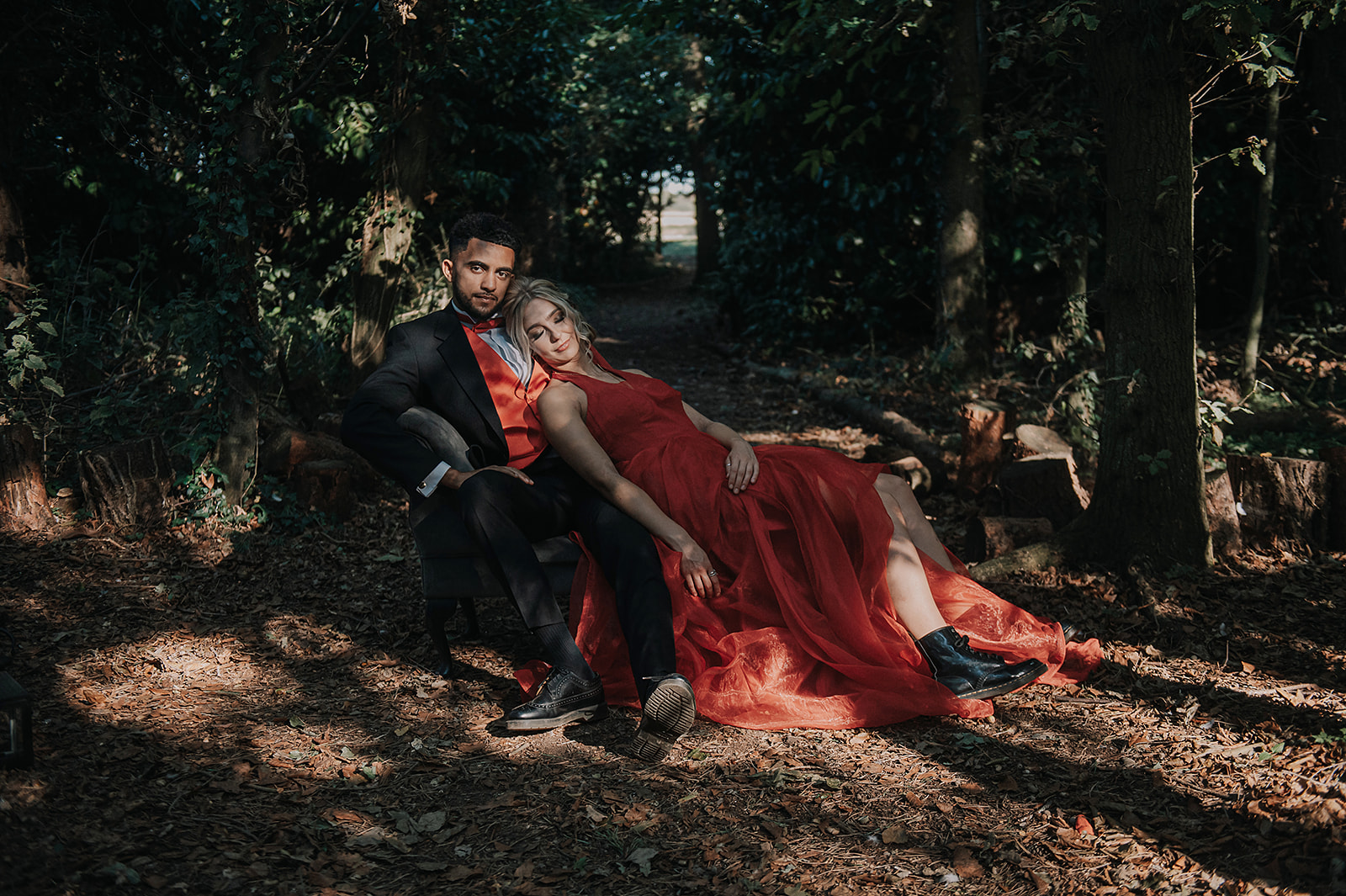 red wedding - forest elopement photoshoot - red wedding dress - coloured wedding dress- red mens waistcoat