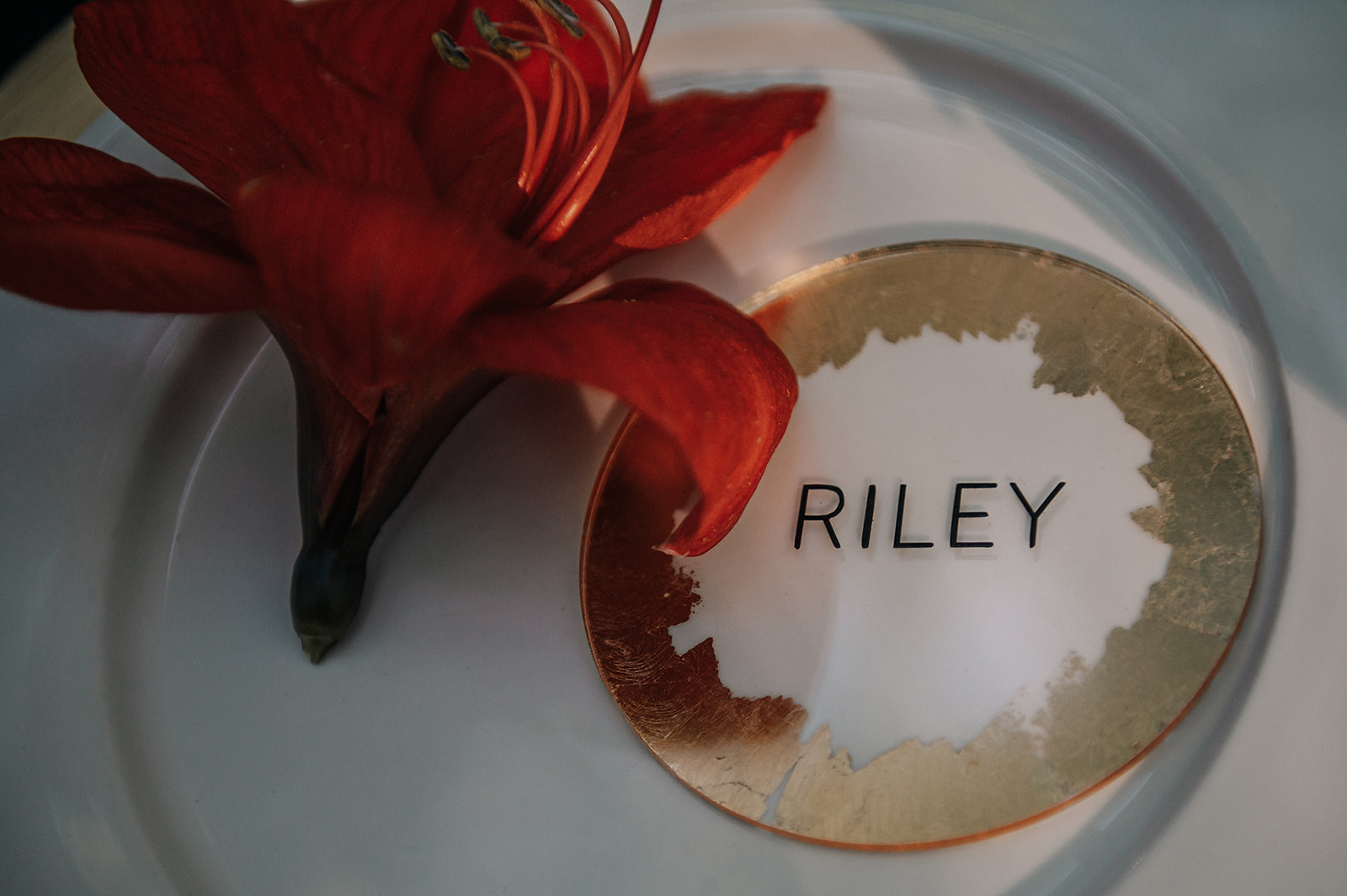 gold place name - simple wedding place name