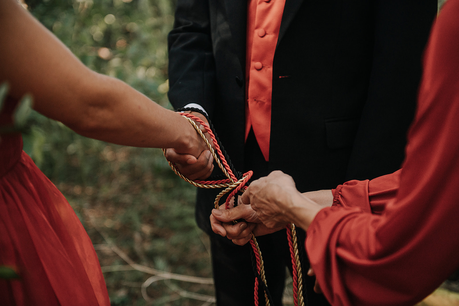 red wedding - handfasting ceremony - celebrant wedding ceremony