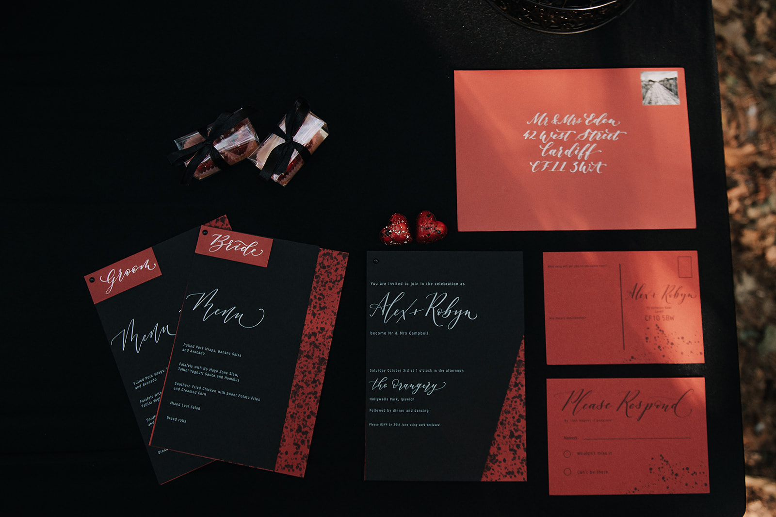 red and black wedding stationery - luxurious wedding invitations