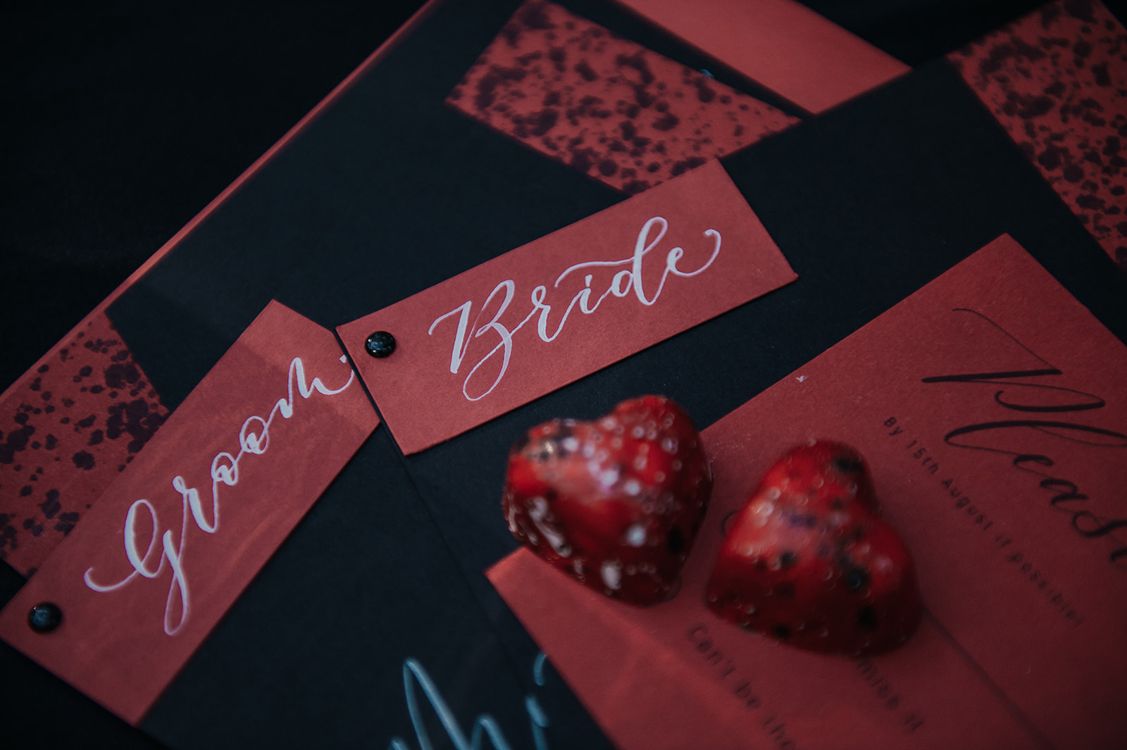 red wedding stationery - gothic wedding stationery