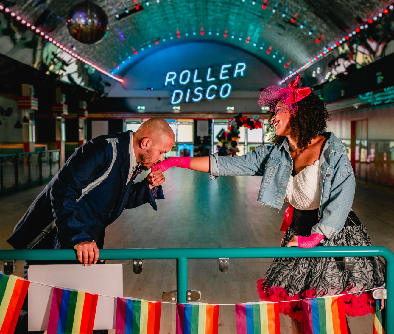 roller disco wedding - 80s themed wedding - retro wedding wear - quirky wedding venue - margate wedding venue