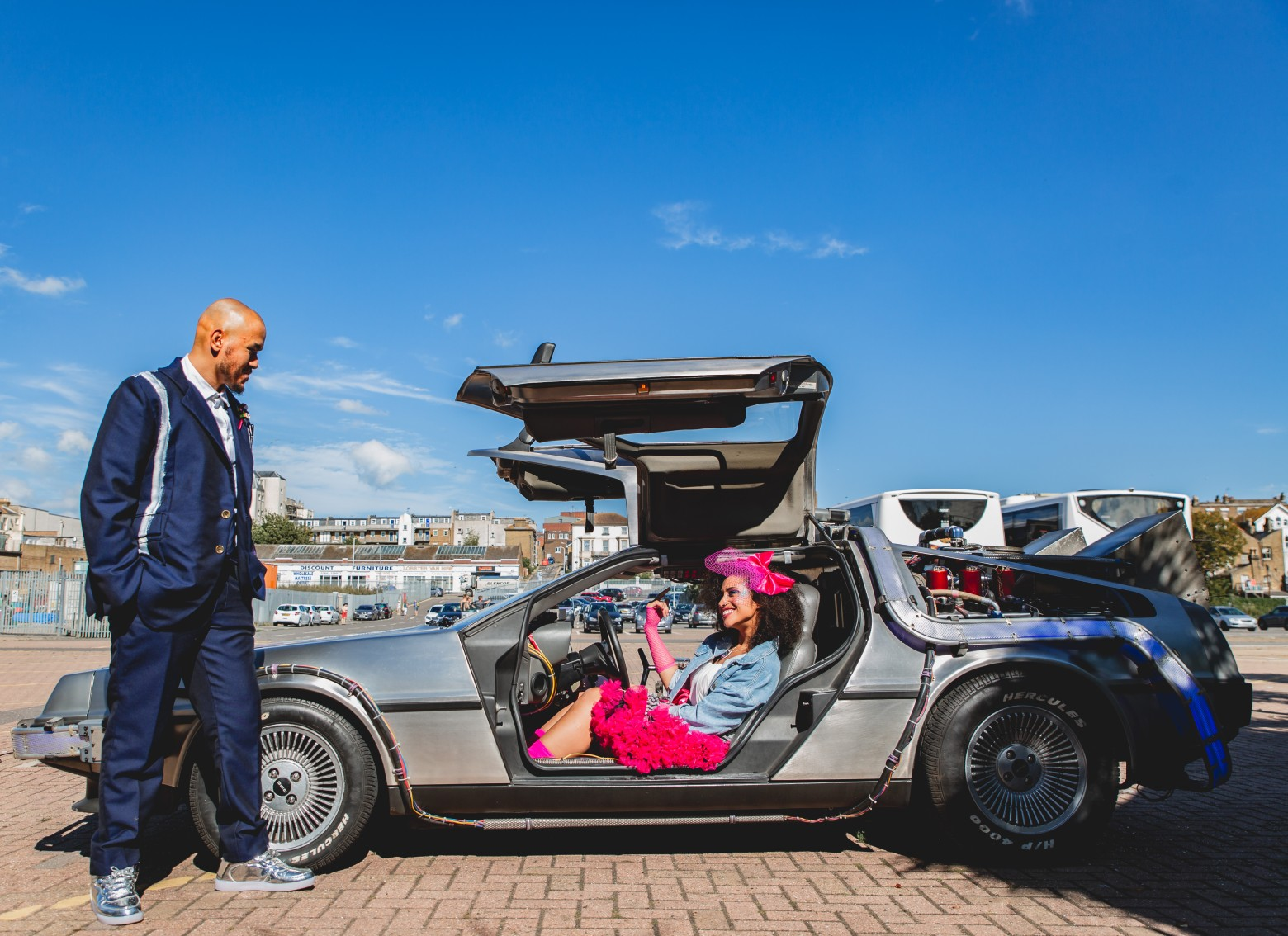 delorean car hire - back to the future wedding - 80s themed wedding