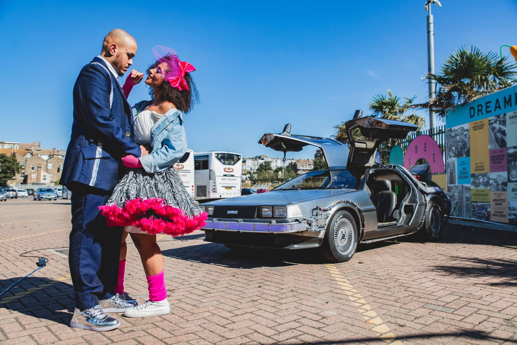 back to the future wedding - delorean car hire - retro wedding - themed wedding - 80s themed wedding