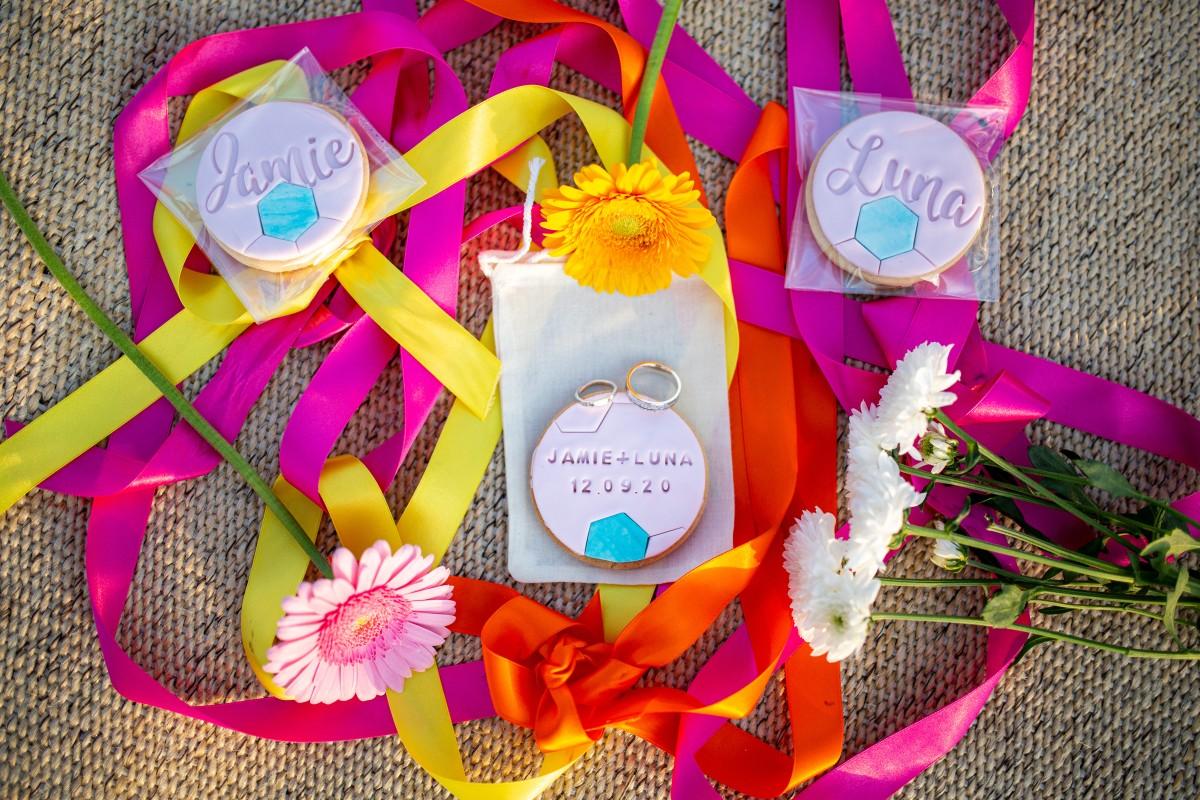 rainbow festival wedding - colourful wedding - quirky wedding ideas - personalised wedding cookies